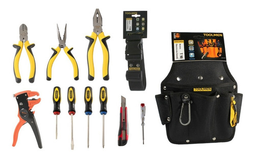 set de herramientas stanley + cinturon portaherramientas t90