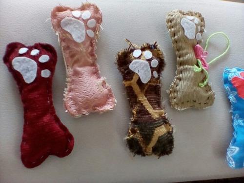 set de huesitos pets en tela adornos para árbol de navidad