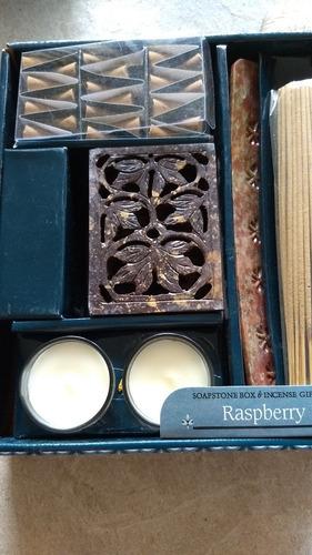 set de incienso aroma frambuesa con base y jabonera