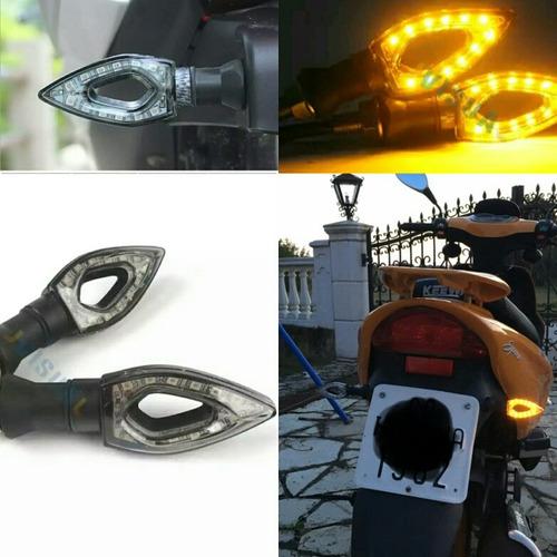 set de intermitentes led modelo diamante para motocicleta