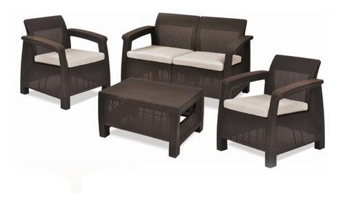 set de jardín keter 3 sillones (2+1+1) + mesa