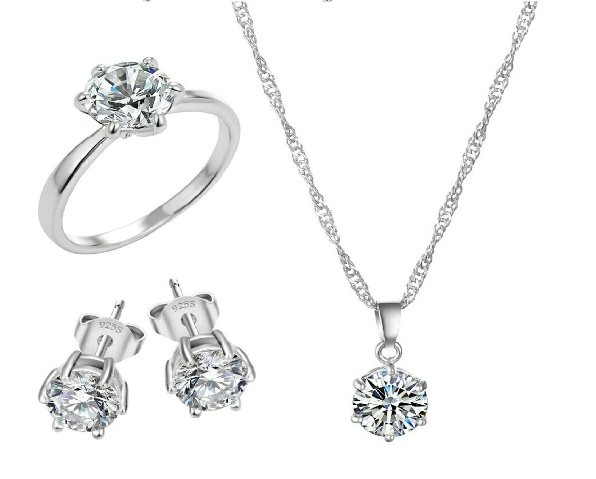 604fbe9118d3 set de joyas anillo de compromiso + collar + aretes plata. Cargando zoom.