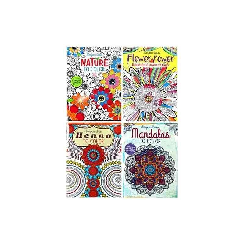 Set De Libro De Colorear Para Adultos: ¡naturaleza, Mandalas ...