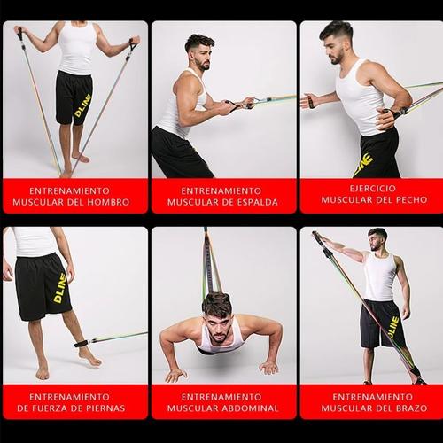 set de ligas de resistencia para ejercicio en casa 11 pzs
