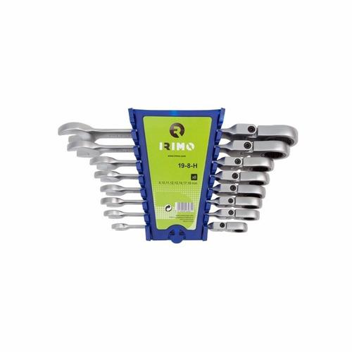 set de llaves comb. c/crique articulada 8pz 19-8-h irimo mm