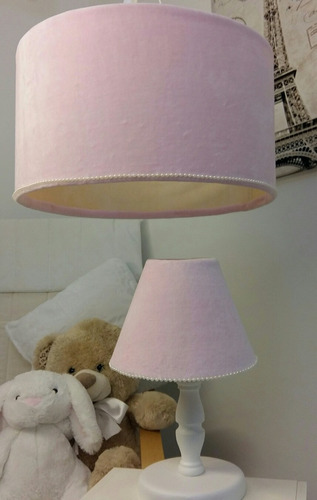 set de luminarias para bebé,  en plush y detalles de perlas.