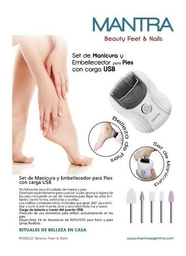 set de manicura y embellecedor pies carga usb mantra beauty
