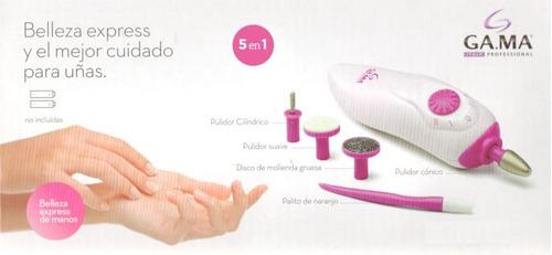 set de manicuria y pedicuria 5en1 gama nails spa con secador