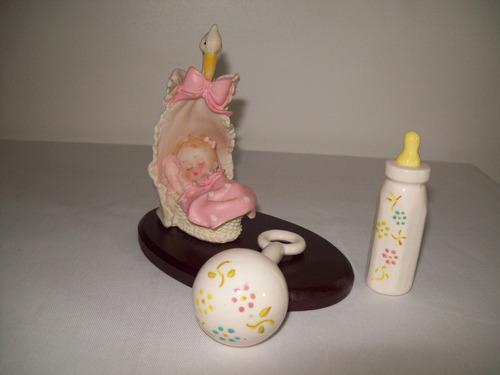 set de maraca tetero y cigüeña de cerámica adorno