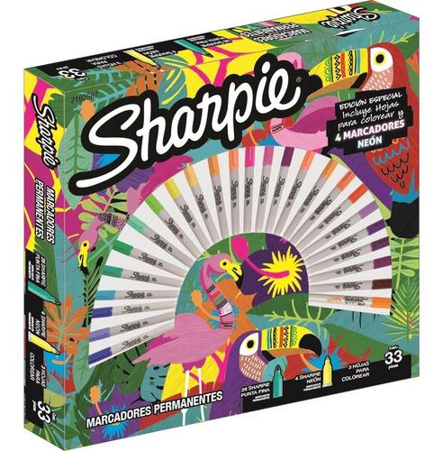 set de marcadores sharpie fino expression tropical x30