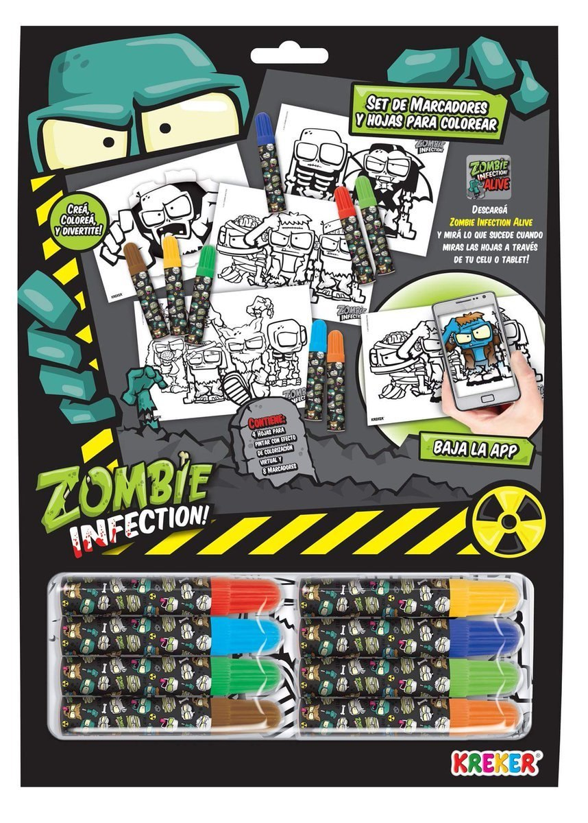 Set De Marcadores Y Hojas Para Colorear Zombie Infection - $ 99,00 ...