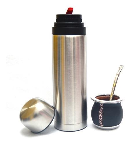 set de mate con termo de 1 litro y bombilla de bronce