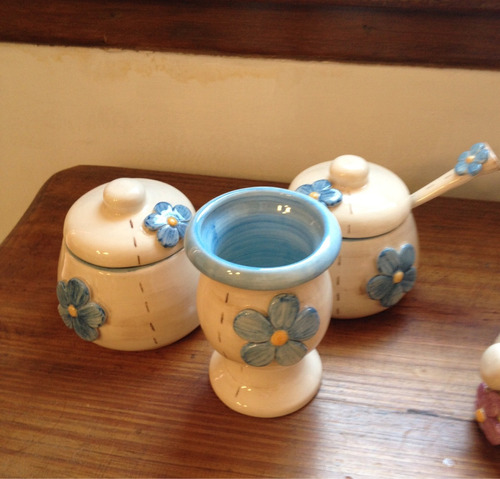 set de mate yerbera azucarera  de cerámica artesanal