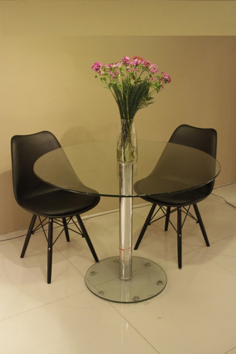 set de mesa  grace 1.00 de diametro + 4 sillas tulip negras