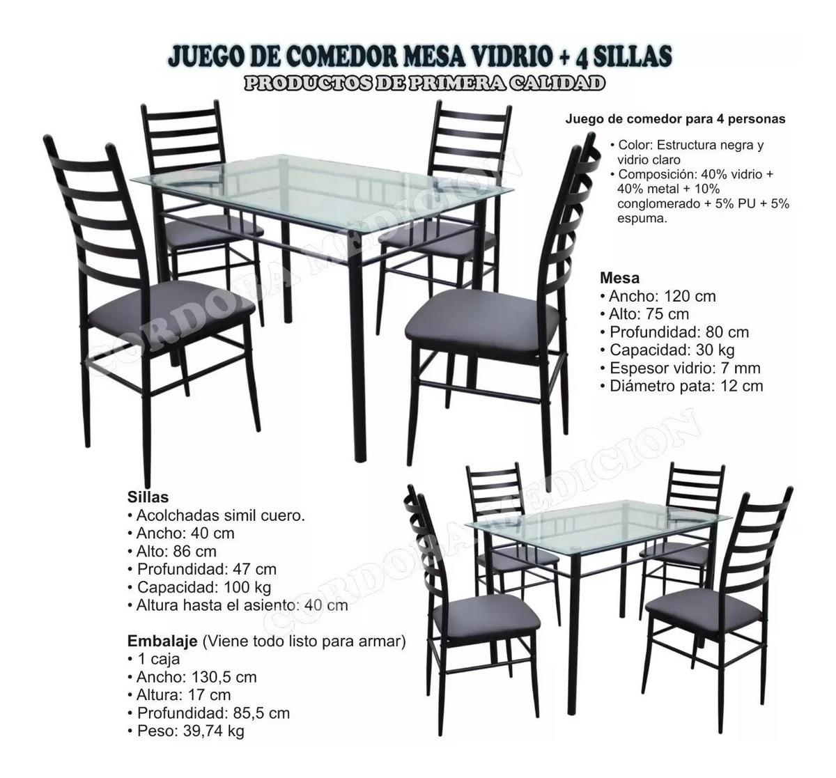 Sillas Vidrio4 De Mesa Set Comedor 53AcL4qSRj