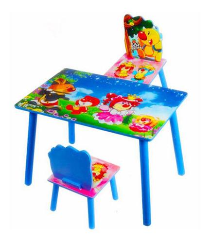 set de mesa y 2 sillas inflantiles en mdf - mercado celeste