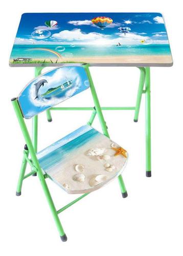 set de mesa y  silla infantil en mdf y metal 2 diseños