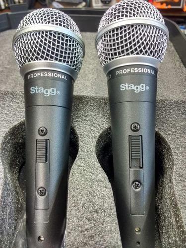 set de micrófonos stagg dinámico cardioide c/ cables sdmp503