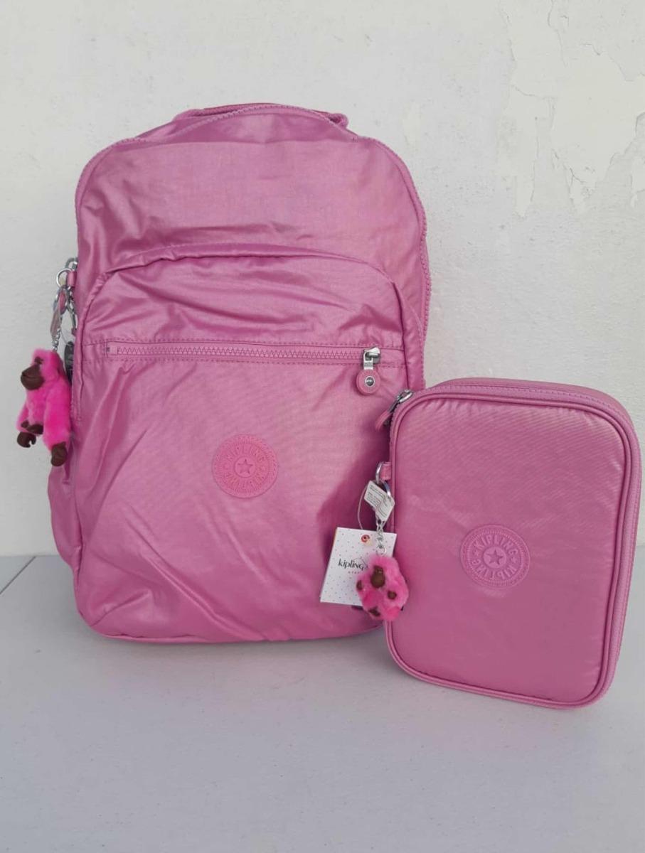 83869c67e set de mochila lonchera y lapicera kipling rosa original. Cargando zoom.