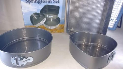 set de moldes para tortas antiadherentes desmontable x3