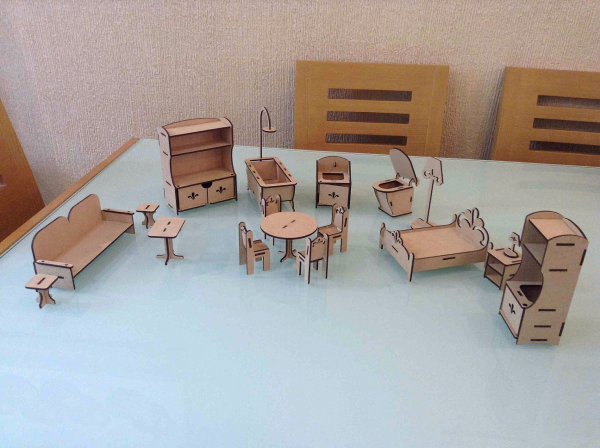 Set de muebles m3 casa de mu ecas mdf corte laser for Muebles para cristaleria