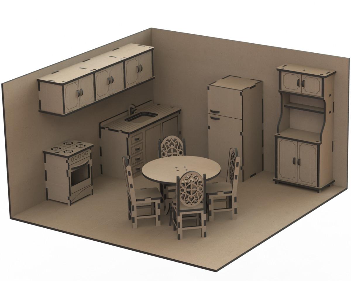Set De Muebles M6 Casa De Mu Ecas Mdf Corte Laser 548 00 En  # Muebles De Casa