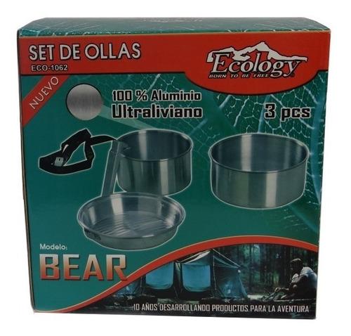 set de ollas de aluminio para camping excursion bear ecology