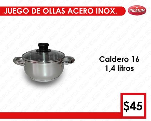 set de ollas indalum - acero inoxidable - para inducción-gas