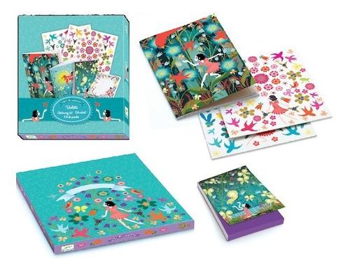 set de papelería violeta - para niños - djeco -