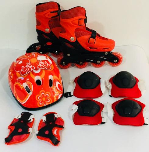 set de patines lineales tobilleras y casco