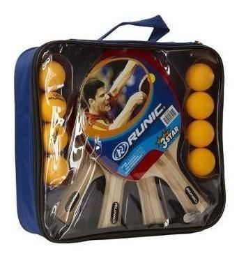 set de ping pong runic 4 raquetas+8 pelotas+estuche l3o