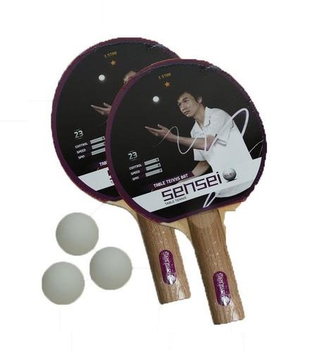 set de ping pong sensei 2 paletas pelotas estación deportes