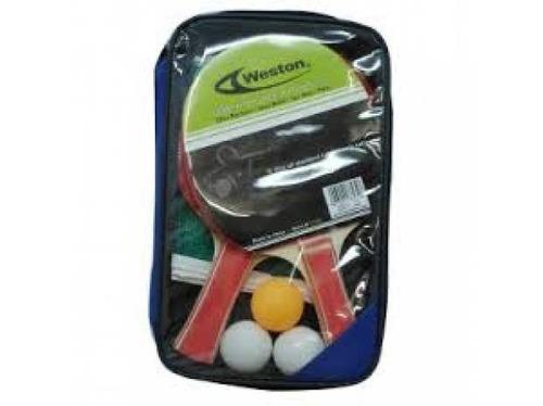 set de ping pong weston 2 raq+3 pel+malla+ estuch   l3o