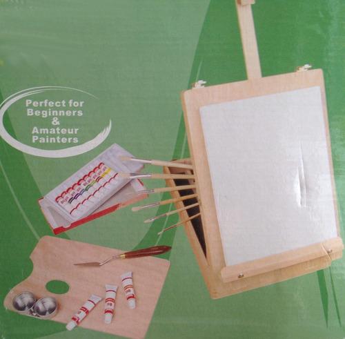 set  de pintura portátil! caballete para pintar arte