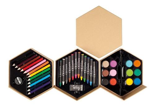 set de pinturas hexágono, lapices, crayones, acuarelas