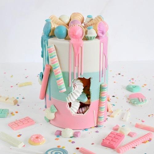 set de placas cake piñata  sorpresa chic 15 x 20 cm, parpen