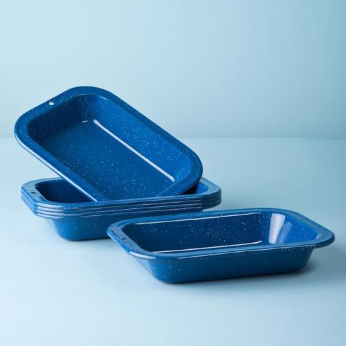 set de plato multiusos grande de peltre 6 piezas azul