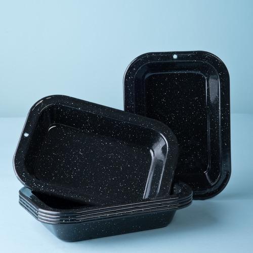 set de plato multiusos grande de peltre 6 piezas negro
