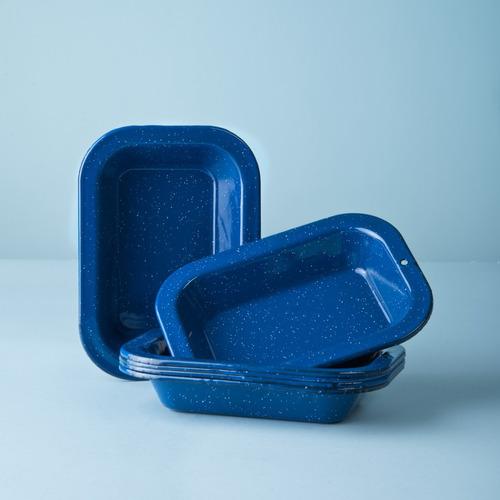 set de plato multiusos mediano de peltre 6 piezas azul
