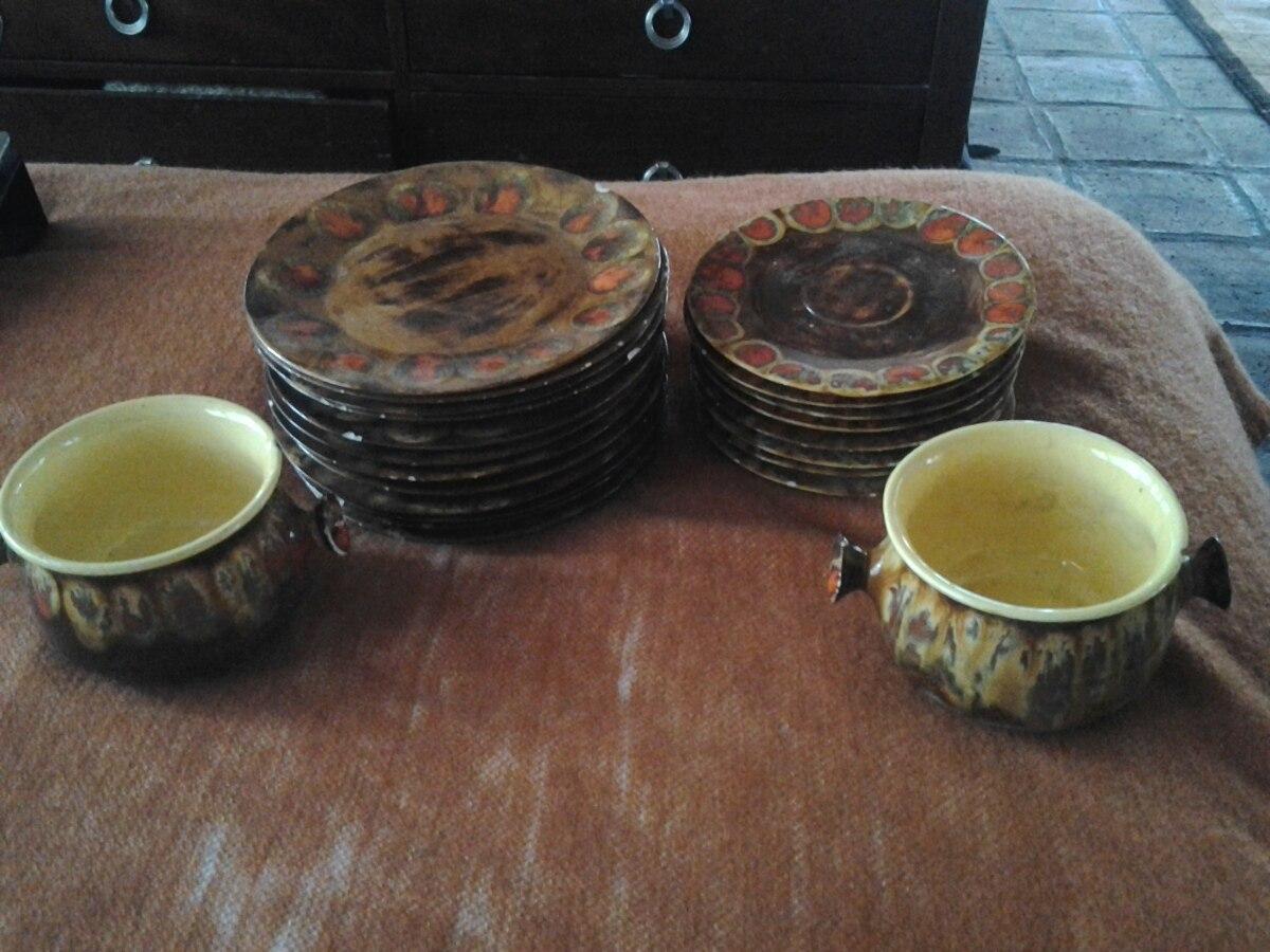 Set de platos de ceramica vintage en mercado libre for Set de platos