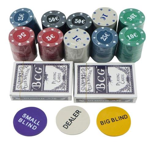 set de póker caja de metal 200 fichas, profesional, juego