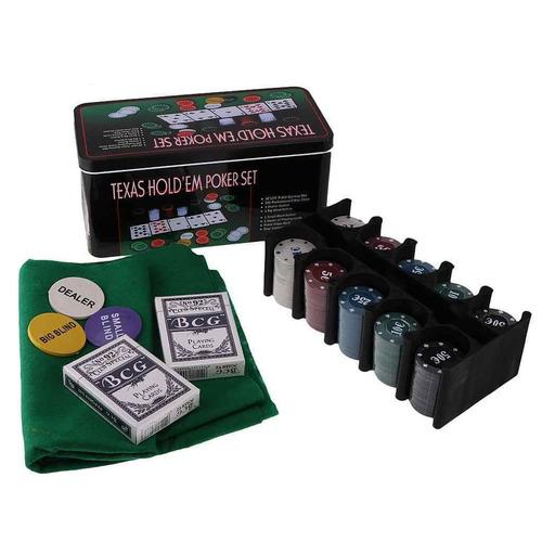 set de poker tipo casino texas hold fichas cartas tapete y +