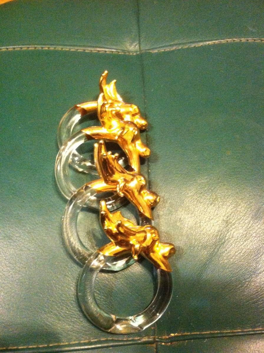 Set de portaservilletas de cristal con reno dorado 149 for Mesa cristal y dorado
