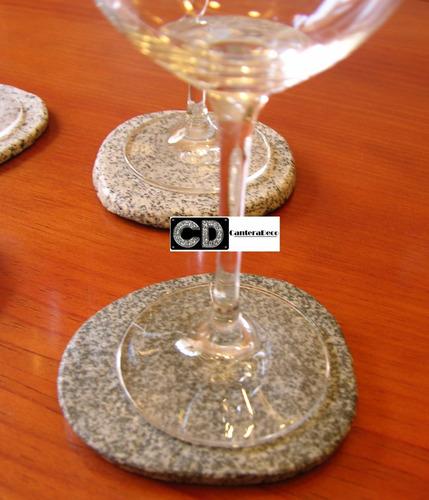 set de posa vasos  piedra de río