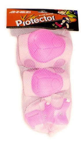 set de protección color rosa annezi skate roller
