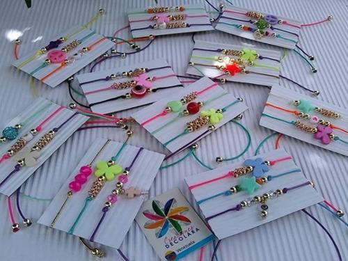 set de pulseras- bisutería- hilo cruz bola de fuego 2 set