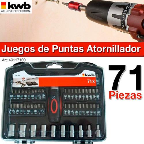 set de puntas accesorios kwb 71 piezas + destornillador