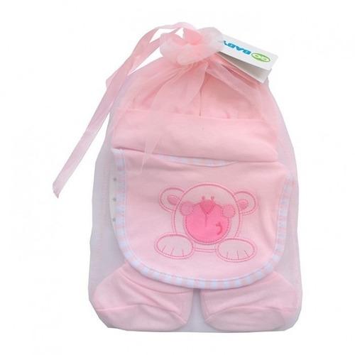 set de regalo 4 pcs 0-12 m rosado go baby