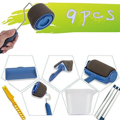 set de rodillos de pintura de 9 piezas con palos rodillo de