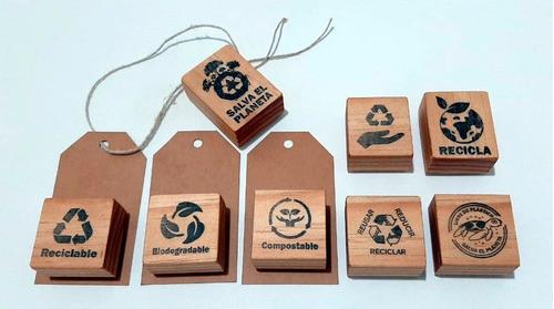 set de sellos de goma con frases de reusar reducir reciclar